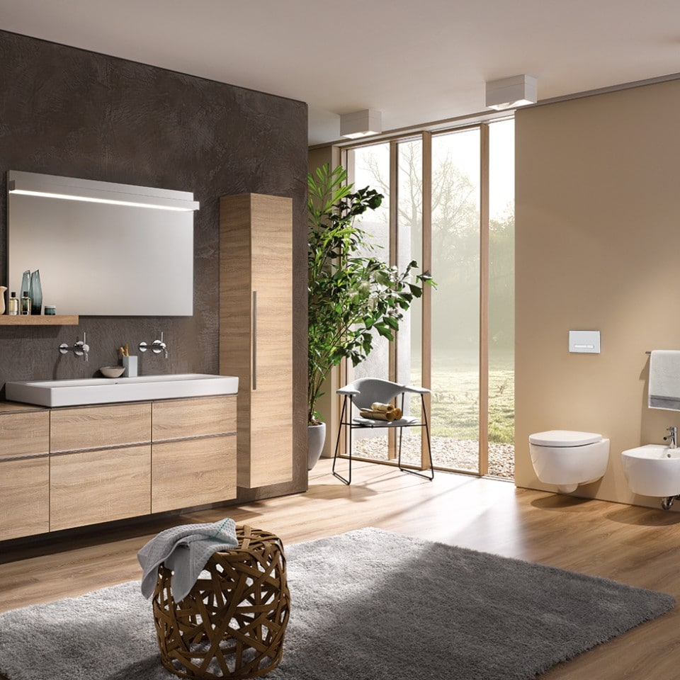 Spacious Bathroom with modern modular furniture and wall hung WC