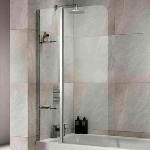 SOB56 Sommer Extended Half Radius Screen with Fixed Panel and 2 Shelves Chrome