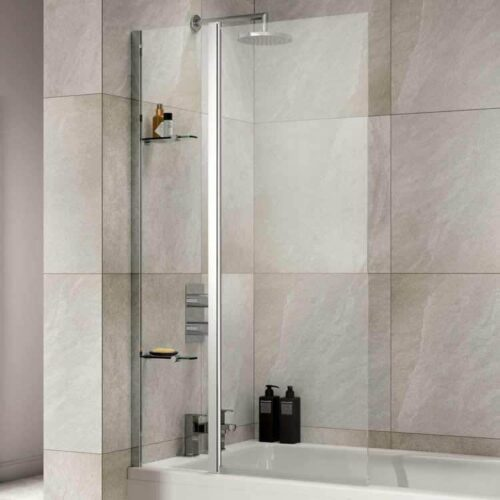 SOB57 Sommer Extended Square Bath Screen with Fixed Panel and 2 Shelves Chrome